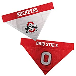 Pets First NCAA DOG BANDANA - OHIO STATE BUCKEYES REVERSIBLE PET BANDANA. 2 Sided Sports Bandana with a PREMIUM Embroidery TEAM LOGO, Large/X-Large. - 2 Sizes & 50 COLLEGE Teams available