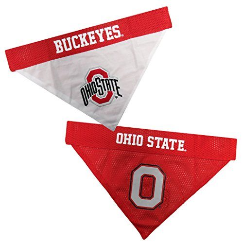 NCAA DOG BANDANA - OHIO STATE BUCKEYES REVERSIBLE PET BANDANA. 2 Sided Sports Bandana with a PREMIUM Embroidery TEAM LOGO, Large/X-Large. - 2 Sizes & 50 COLLEGE Teams - College State Shopping