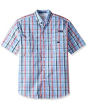 Men's Big Super Bonehead Classic Short Sleeve Shirt, White Cap Varied Plaid, Large/Tall