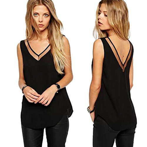 Catty Kelly Sexy Women V-Neck Loose Chiffon Vest Sleeveless Tank T-Shirt Top (XL, Black) (Sexy Grinch)