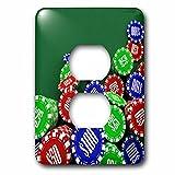 3dRose LLC lsp_155013_6 Various Poker Chips Over Green Felt Background 2 Plug Outlet Cover