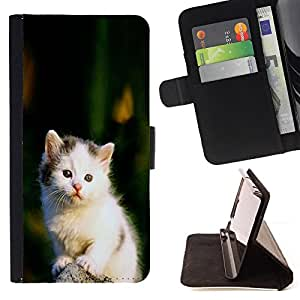 DEVIL CASE - FOR Samsung Galaxy S4 IV I9500 - Cute Sad White Furry Fuzzy Kitten Cat - Style PU Leather Case Wallet Flip Stand Flap Closure Cover