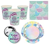 Mermaid Party Supplies for 16 People: Cups Dessert Plates Napkins and Today is My Birthday Button 49 Piece Set