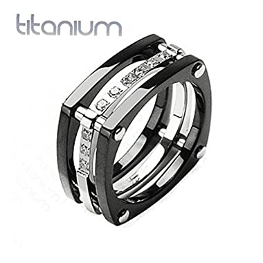 Solid Titanium Ring with IP Black Squared Band and Cubic Zirconia, Ring Width of 11MM