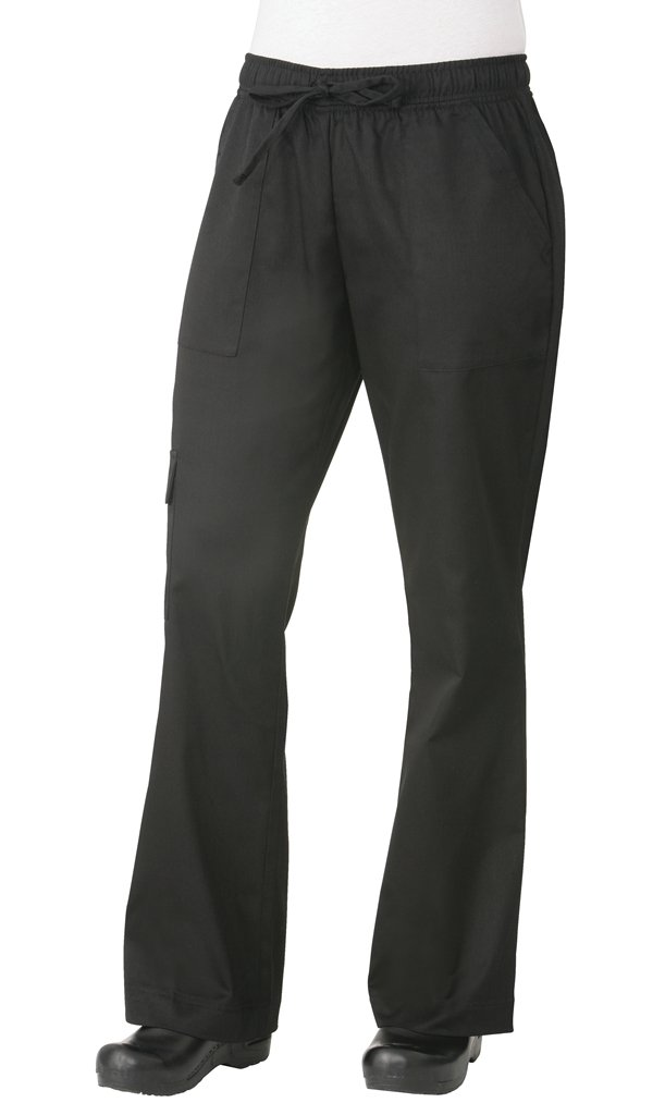Chef Works Men's Cargo Chef Pants, Black, Small