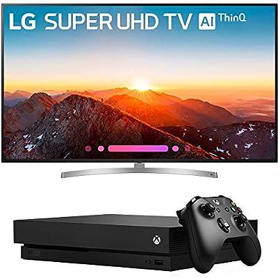 "LG 75"" Class 4K HDR Smart LED AI SUPER UHD TV w/ThinQ 2018 Model (75SK8070PUA) with Microsoft Xbox One X 1TB Console Black"