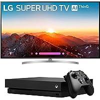 LG 75 Class 4K HDR Smart LED AI Super UHD TV w/ThinQ 2018 Model (75SK8070PUA) with Microsoft Xbox One X 1TB Console Black