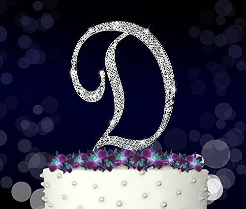 Letter D, Initials, Happy Birthday Cake Topper, Wedding, Anniversary, Vow Renewal, Crystal Rhinestones on Silver Metal, Party Decorations, Favors
