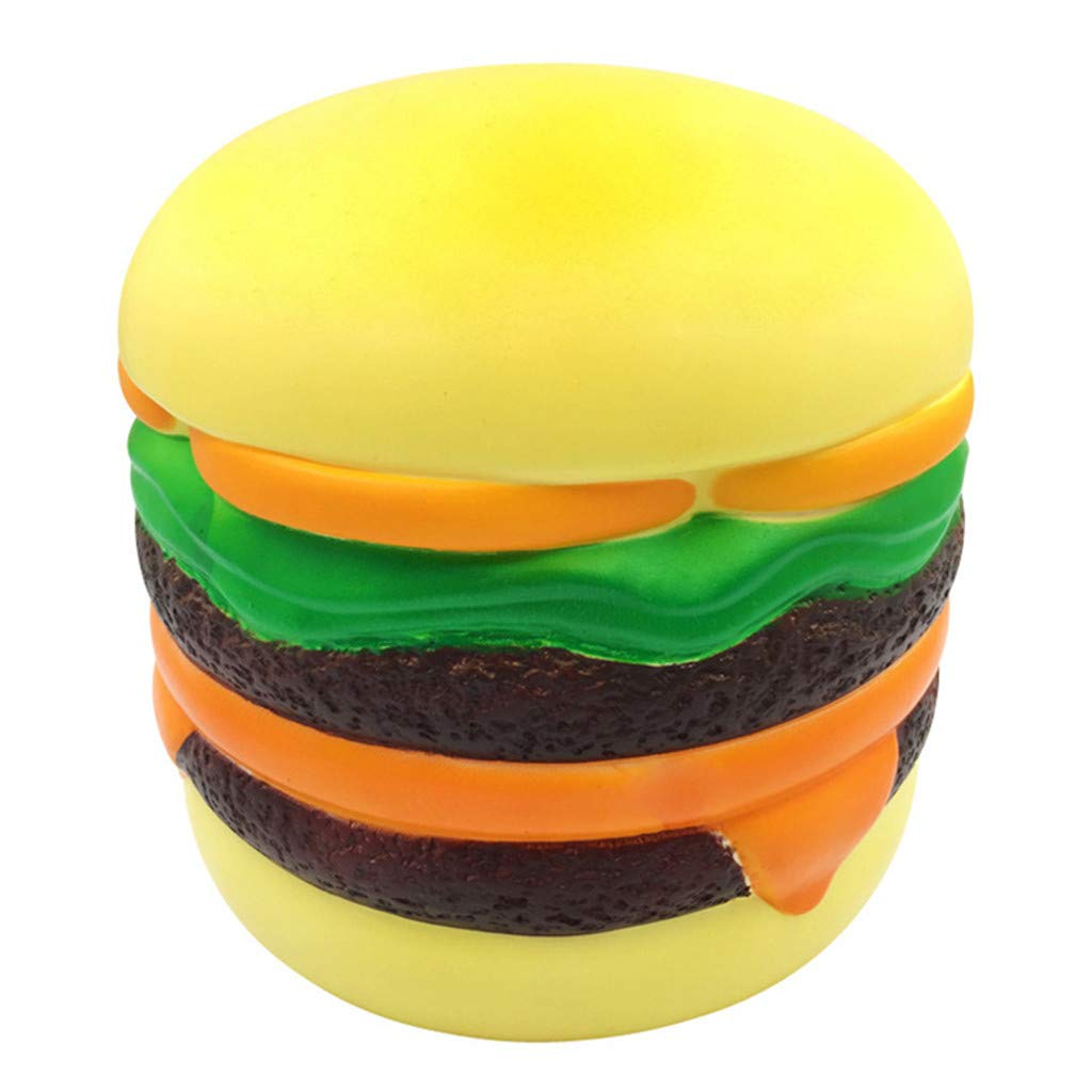 Amaping Funny Jumbo Giant Squeeze Hamburger Scented Super Slow Rising Toy for Kids Stress Reliever Realistic Toy (Yellow)