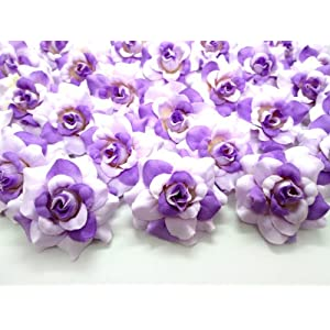 "(100) Silk Two Tone Purple Roses Flower Head - 1.75"" - Artificial Flowers Heads Fabric Floral Supplies Wholesale Lot for Wedding Flowers Accessories Make Bridal Hair Clips Headbands Dress 55"
