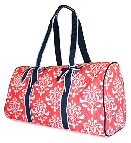 NGIL Damask Quilted Duffle Bag (Coral Pink)