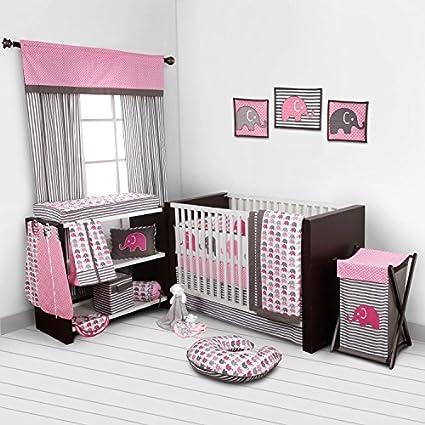 Elephants Pink//Grey Mini Elephants Crib fitted sheet Bacati EPGCFS1