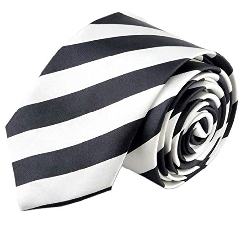 (Hello Tie Unisex Black & White Striped 2