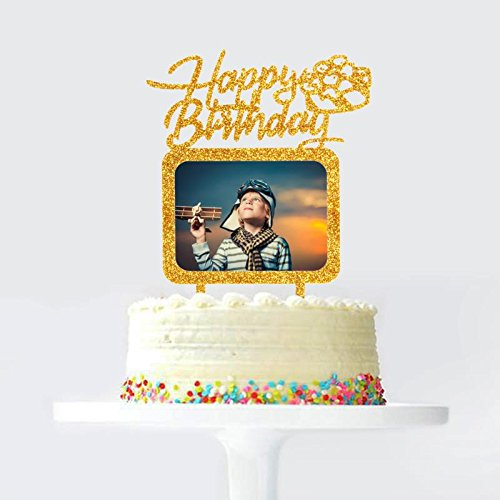- Gold Happy Birthday Cake Topper with Photo Frame, Birthday Girl Boy Woman Man Photo Picture Cake Toppers, Party Cake Decorations