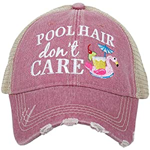 KATYDID Pool Hair Don't Care Women's Distressed Trucker Hat