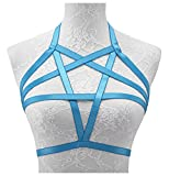Jelinda Womens Sexy Pentagram Harness Strappy Body Caged Bra Backless Bralette (A-Blue)