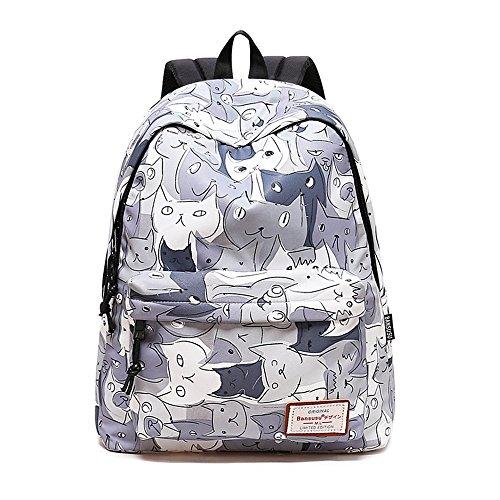 Backpacks School Bookbags For Girls | Mochilas De Mujer | Cute Daypacks College Travel Bags Women Fashion Floral Pineapple Bag (Cat)