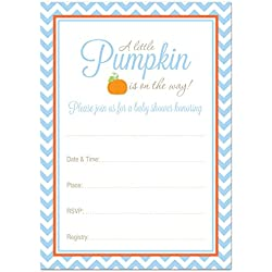24 Little Pumpkin Chevron Baby Shower Fill In Invitations