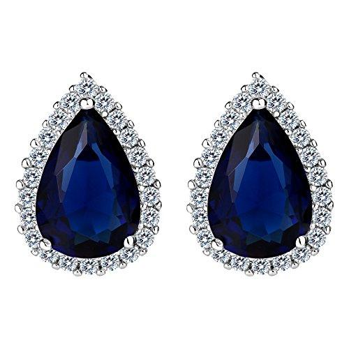 EVER FAITH Women's Cubic Zirconia Wedding Teardrop Prong Setting Stud Earrings Navy Blue ()