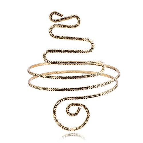 TUSHUO Filigree Gypsy Swirl Snake Arm Cuff Wire Armlet Armband Stretchy Bangle Bracelet (Antique Gold) (Jewelry Filigree Band Box)