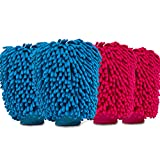 Aeroway Chenille Microfiber Premium Scratch-Free Car Wash Mitt - Double Sided, 4 Pack, 2 Color ExtraLarge