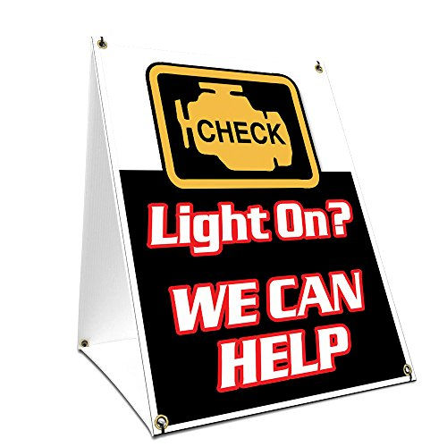 """A-frame Sidewalk Check Engine Light Sign With Graphics On Each Side   18"""" X 24"""" Print Size from SignMission"""
