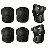MAXZOLA Kids Protective Pads Knee Pads Elbow Pads Wrist Guards 3 In 1 Protective Gear Set (Black)