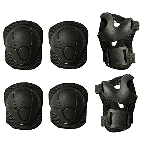 MAXZOLA Kids Protective Pads Knee Pads Elbow Pads Wrist Guards 3 In 1 Protective Gear Set (Black) by MAXZOLA