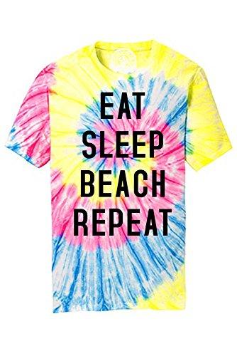 Eat Sleep Beach Repeat Summer Ocean Tie Dye Tee Shirt Neon Rainbow M