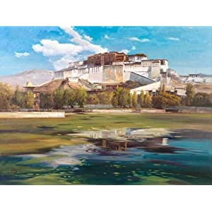 Perfect Effect Canvas ,the High Definition Art Decorative Canvas Prints Of Oil Painting 'Landscape Painting Of The Potala Palace', 12x16 Inch / 30x41 Cm Is Best For Gym Gallery Art And Home Artwork And Gifts