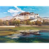 'Landscape Painting of The Potala Palace' oil painting, 8x11 inch / 20x27 cm ,printed on Perfect effect Canvas ,this High Definition Art Decorative Prints on Canvas is perfectly suitalbe for Kitchen decor and Home artwork and Gifts