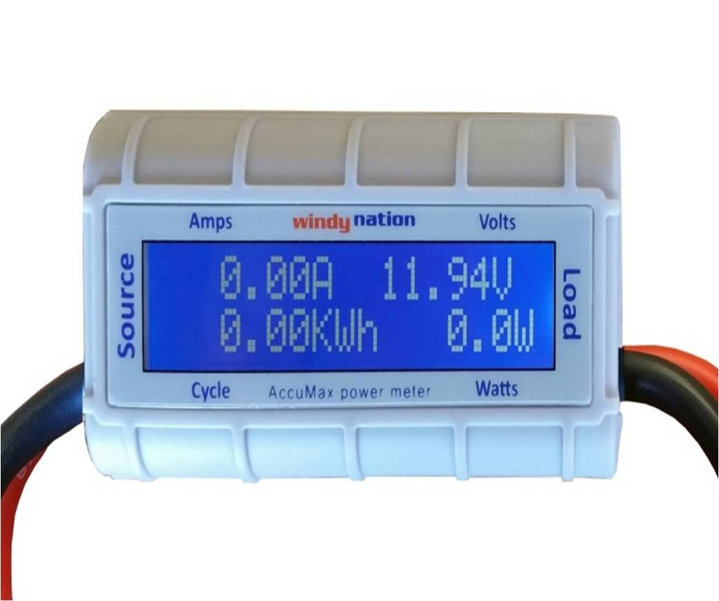 Windynation Accumax Watt Volt Ammeter Power Meter Meters Amp Ampere With Pic Analyzer Wind Solar Rc Garden Outdoor