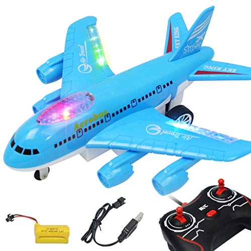 Nesee Electric Airplane Toy Kids Toy Plane Airbus with Flashing Lights, Realistic Aircraft Jet Engine Sounds,Outdoor Toy Gift USB Charge (Blue)