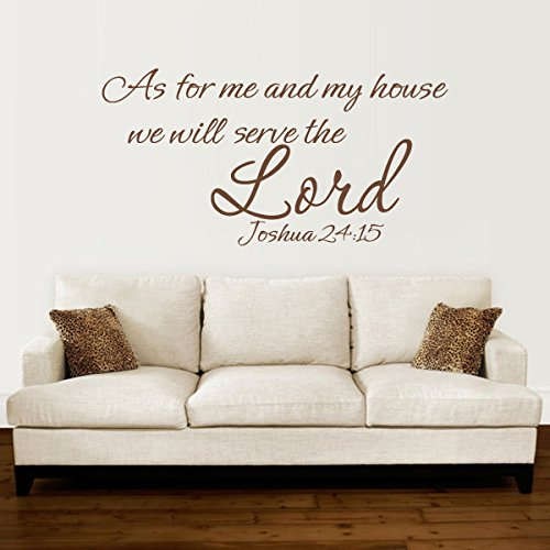 As For Me And my house we will serve the Lord JOSHUA 24:15 Bible Christian Word Art Custom Wall Decal(Medium,Black)