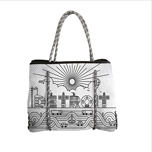 Neoprene Multipurpose Beach Bag Tote Bags,Detroit Decor,Detroit City Typography with Building Letters Transportation Air Balloon Decorative,Black and White,Women Casual Handbag Tote Bags