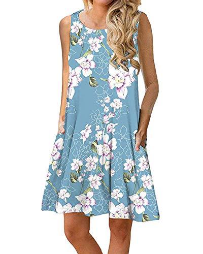 Women Casual T-Shirt Summer Dresses Floral Bohemian Dress Swing Boho Sundress Sleeveless with Pockets(Blue Flower,L) (Bohemian Sundress Dress)
