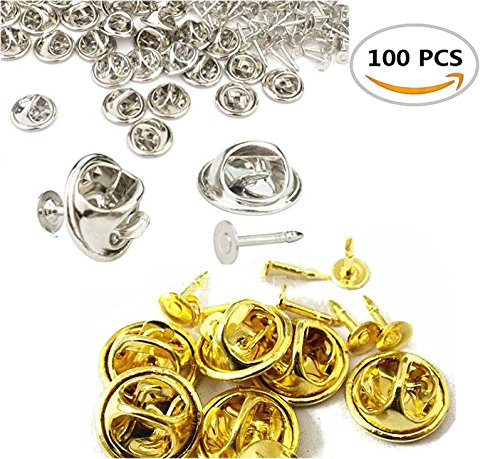 (Pack of 100 Fireboomoon Tie Tacks Blank Pins with Clutch Back, Comfort Fit Butterfly Clutch Metal Pin Backs Replacement.(Silver and Gold))