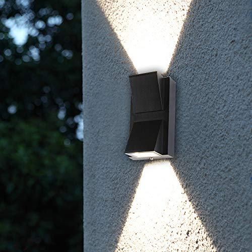 Passica Modern Waterproof Outdoor LED Wall Light 4000K White Light 6W Up Down Wall Lamp Black Metal Matte Sconce