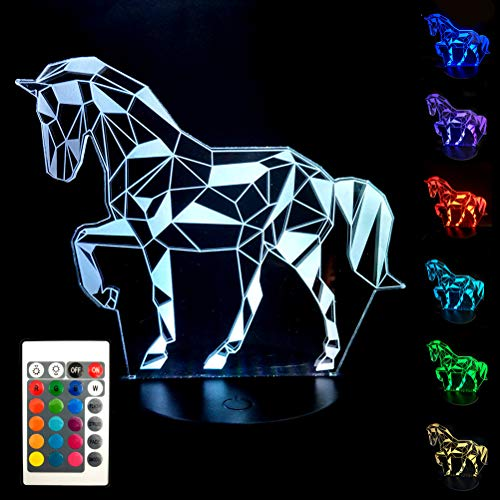 BJYHIYH Horse Lamp 16 Colors Changing Optical Illusion Lamp Remote Control Horse Night Light for Kids Girls Boys Birthday Gifts