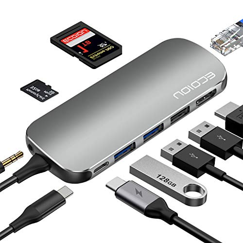 USB C Hub,ECOIOU 9-in-1 Ports Type-C Hub Adapter for 4K HDMI, USB 2.0/3.0 PD Power Delivery, SD 3.0 Card Reader, Ethernet, Audio Jack, Compatible with MacBook, Surface, PixelBook, USB-C Smartphones