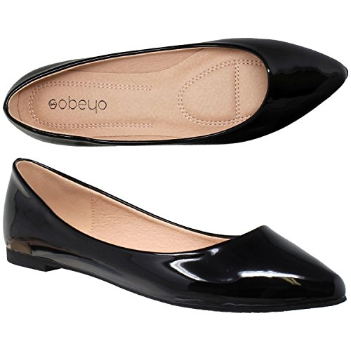 SOBEYO Women Ballet Flats Pointed Toe Slip On Closed Toe Shoes Black Patent SZ 10