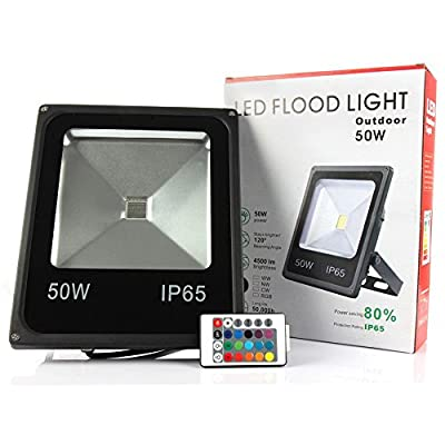 Changeable, 50W : Refletor RGB Led Flood light with Remote Controller 10W 20W 30W 50W Led Spotlights 100W Waterproof Outdoor wall lamp floodlight