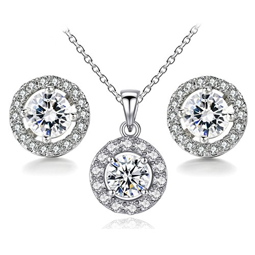 BaubleStar Silver Round CZ Stud Earrings Pendant Necklace Crystal Bridal Wedding Jewelry Set for Brides Bridesmaids Teen Girls Women ()