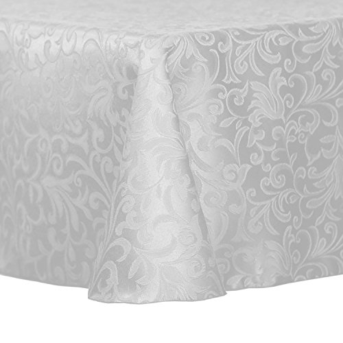 (Ultimate Textile -2 Pack- Somerset 108 x 108-Inch Square Damask Tablecloth - Jacquard Weave Scroll Design, White)