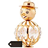 24K Gold Plated Crystal Studded Snowman Hanging or Table Top Ornament by Matashi
