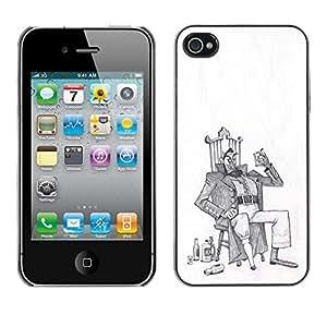 Shell-Star Arte & diseño plástico duro Fundas Cover Cubre Hard Case Cover para Apple iPhone 4 / iPhone 4S / 4S ( Alcohol Man Drunk Art Drawing Pencil )