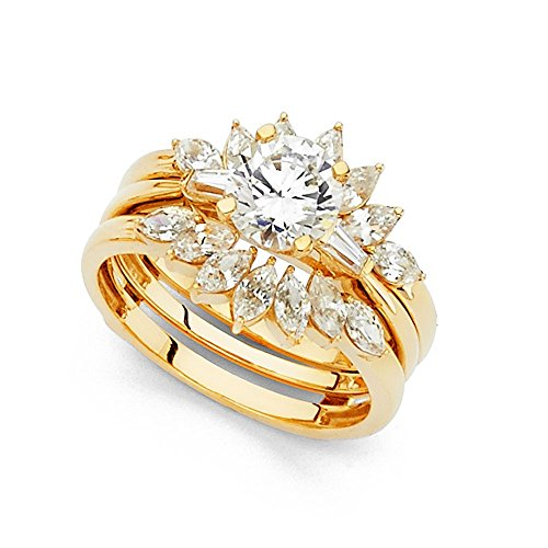Marquise Baguette Solitaire - Flower CZ Bridal Rings Set 14k Yellow Gold Solitaire Engagement Ring & Wedding Band Side Stones Size 6.5