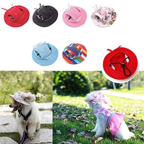 oceaneshop Eco-Friendly Doggie Fashion Canvas Sun Bonnet Dog Princess Cap Cat Beach Hat Pet Protect