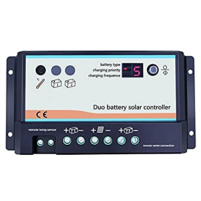 Y-SOLAR 20A 12V 24V Dual Battery Solar Charge Controller Duo-Battery Solar Controller For RVs Caravans and Boats