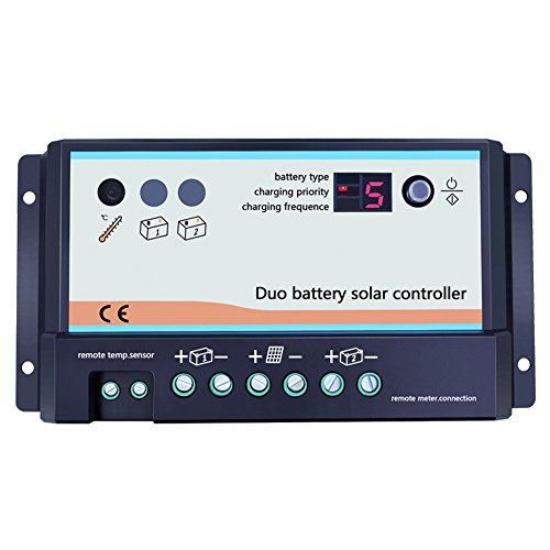 Temank Dual Battery Solar Charge Controller 20A 12V 24V Duo-Battery Solar Controller for RVs Caravans and Boats (Best Dual Battery Setup)